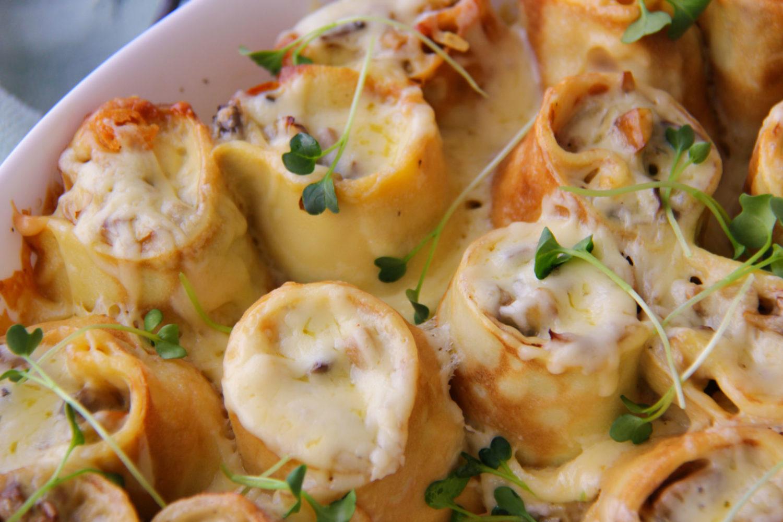 Clatite cu ciuperci si cascaval la cuptor